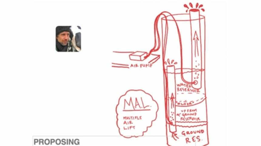 Ilustrasi dari salah satu orang yang menyumbangkan gagasan tentang mesin hidroponik vertikal bagi proyek kolaboratif yang dibangun oleh Riley. (Sumber: