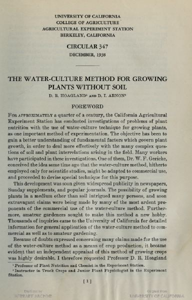 The water-culture method for growing plants without soil