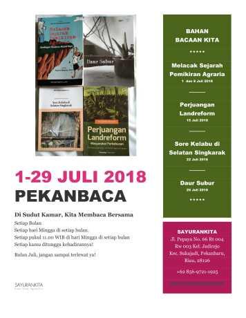 Jadwal Pekanbaca Sayurankita edisi Juli 2018